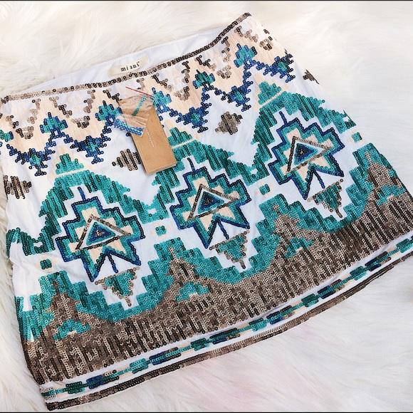 miami Dresses & Skirts - NWT Francesca's Tribal Sequined Mini Skirt Sz M